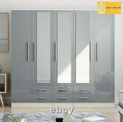 Modern 5 Door LARGE Fitment mirrored wardrobe in HIGH GLOSS GREY with 6 drawers