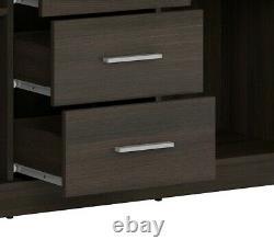 Modern Dark Wenge Effect Large Sideboard Storage Cabinet 2 Doors 4 Drawers Nepo
