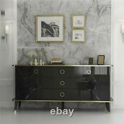 Modern Large Sideboard Finished in Black Gloss/Gold