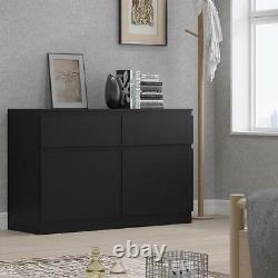 Modern Scandinavian Matt Black Sideboard Storage Unit 2 Door 2 Drawer Large