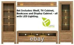 Modern Sturdy Large Living Room Set LED Lights Soft Close Medium Oak Effect Gent