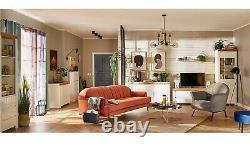 Modern White Gloss Oak Finish Large Desk Office Door & Drawer Soft Close Holten