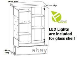 Modern White Gloss & Oak Large Glass Display Cabinet LED Light Buffet Unit Erla