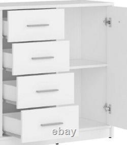 Modern White Matt Large Sideboard Storage Cabinet 2 Doors 4 Drawers 119 cm Nepo