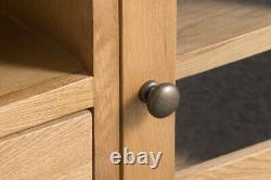 Montreal Oak Large 2 Door 1 Drawer Glazed TV Cabinet / Solid Wood Media Cabinet
