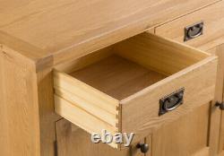 Montreal Oak Large 3 Door 3 Drawer Sideboard / Solid Wood Cupboard Storage Unit