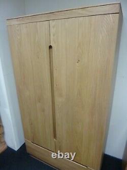 New Large Scandinavian Solid Oak 2 Door 1 Drawer Wardrobe Furniture Store