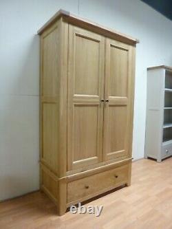 New Large Solid Country Oak 2 Door 1 Drawer Wardrobe Furniture Village