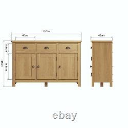 Oak Large Sideboard 3 Door Wood Cupboard Dovedale 3 Drawer Storage Cabinet