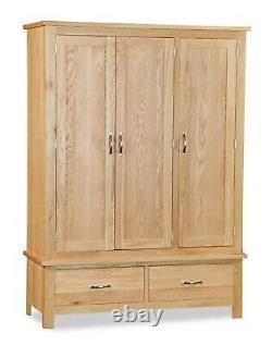 Oak Large Wardrobe / 3 Door Triple With Drawers / Modern Solid Bedroom Storage