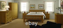 Oak Large Wide Wardrobe / 3 Door Triple Drawers / Rustic Oak Bedroom Furniture