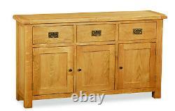 Oakvale Large Sideboard / Solid Wood Wide 3 Drawer 3 Door Side Cabinet