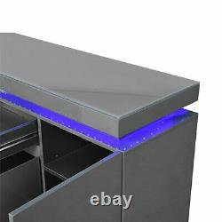 Odessa Large Sideboard 2 Drawer 5 Door Gloss Grey With LED