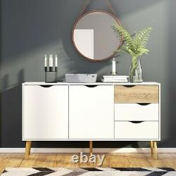 Oslo Retro Spindle Style Sideboard Large 3 Drawers 2 Doors in White and Oak