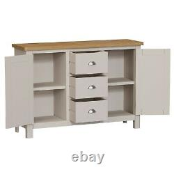 Oxford Grey Painted Large Sideboard / Solid Wood 2 Door 3 Drawer Cabinet