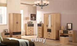 PACIFIC Large Sonoma Oak + Grey Modern Bedroom Range Wardrobe Chest Bedside