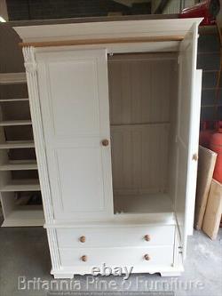 Regency Painted Large 4' Wide 2 Door 2 Drawer Wardrobe- Solid Oak Top- Bespoke