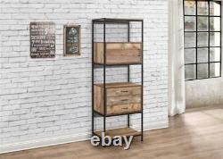 Retro Industrial 3 Drawer Large Bookcase / Shelving Unit / Bookshelf with Door