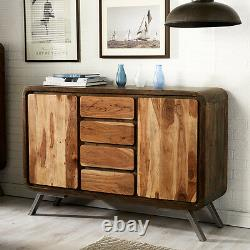 Retro Solid Acacia Wood & Metal Legs 4 Drawers and 2 Side Doors Large Sideboard