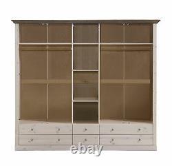 Riva White & Stone Painted Extra Large Glazed 5 Door 6 Drawer Wardrobe