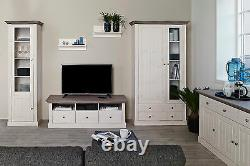 Riva White & Stone Painted Large Wide 4 Door 3 Drawer Glazed Highboard
