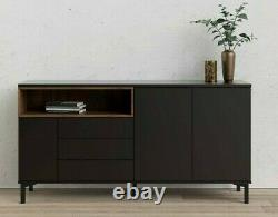 Roomers Large Retro Sideboard Buffet Unit 3 Drawers 3 Doors in Black and Walnut