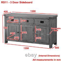 Rustic Oak Large 3 Door 3 Drawer Sideboard Wide Dining Cupboards Storage RS11