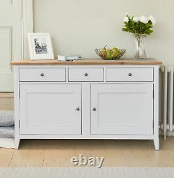 Sideboard Large 2 Door 3 Drawer Solid Wood Grey Limed Finish Top Signature Grey