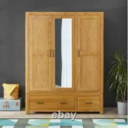 Soho Oak 3 Door Triple Wardrobe with Mirror Large 2 Drawer Hanging Robe SC13