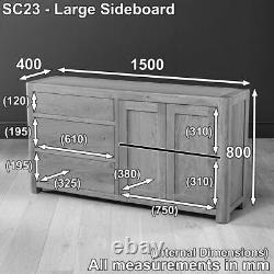 Soho Oak Large Sideboard with 3 Drawers and 2 Doors-EX-DISPLAY- SC23-F302 SALE