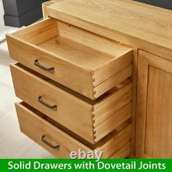 Soho Oak Large Sideboard with 3 Drawers and 2 Doors Long Cupboard Unit SC23