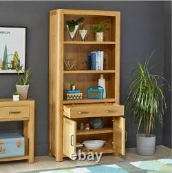 Soho Oak Large Tall Bookcase with 2 Door Cupboard and Drawer Bookshelf SC19