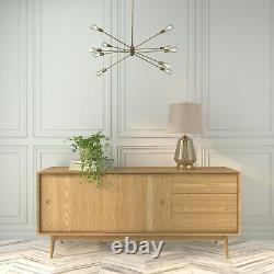 Solid Oak Sideboard with Sliding Doors & Drawers Scandi Briana BRA010