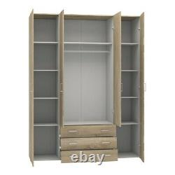 Space Large Wide Modern Wardrobe Storage Unit 4 Doors 3 Drawers in White