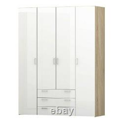 Space Large Wide Modern Wardrobe Unit 4 Doors 3 Drawers Oak & White High Gloss