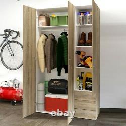 Space Tall Large Wide Modern Wardrobe Storage Unit 3 Doors 3 Drawers Sonoma Oak