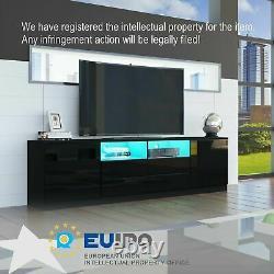 TV Unit Cabinet Large Storage Wood Sideboard Side Table LED Light High Gloss Set