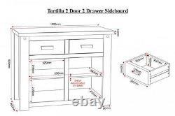 Tortilla 2 Door 2 Drawer Sideboard in Distressed Waxed Pine