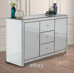 Venetian Mirrored Large Sideboard 3 Drawers 2 Doors Glass Furniture Cupboard New