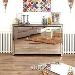 Venetian Mirrored Large Sideboard Living Dining 2 Door Cupboard 3 Drawers TFM6