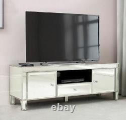 Venetian Mirrored TV Stand Drawer Media Storage Unit Door Large Glass TV Cabinet