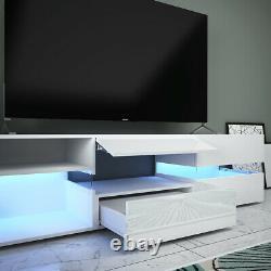 White Large Storage TV Unit Cabinet Stand High Gloss Door Drawer LED Light 177cm