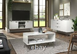 White Retro Large 2 Door 3 Drawer Sideboard Cupboard Cabinet Metal Hairpin Legs