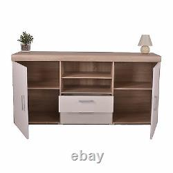 White & Sonoma Oak Large 2 Door 2 Drawer Sideboard Cupboard TV Cabinet Furniture