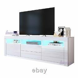 160cm Led Tv Unité De Télévision Cabinet Haute Brillance Portes Tiroirs Grand Stockage Tv Stand