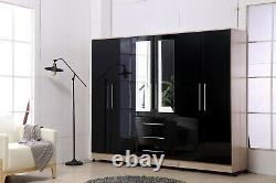 4 Portes 3 Tiroir Miroir Grande Garde-robe Chambre À Coucher Ajustement Noir, Blanc High Gloss