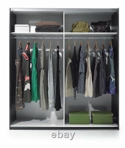 Anita 2 Porte Coulissant Garde-robe Placard 180cm Grand Satin Blanc + 3 Coffre Tiroir