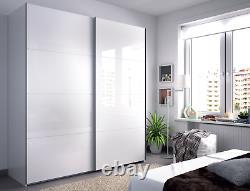 Arc 2 Porte Garde-robe Coulissante 150cm-180cm Grand Tiroir Blanc Smoothglide Optionnel