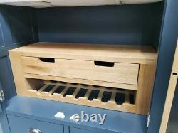Ardoise Bleu Peint Grand Double 2 Door/4 Tiroir Larder Pantry Food Cupboard