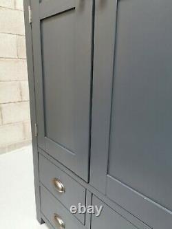 Ardoise Bleu Peint Grand Double 2 Portes/4 Tiroir Garde-manger Garde-manger